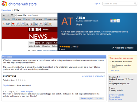 ATbar available from the Chrome Web Store